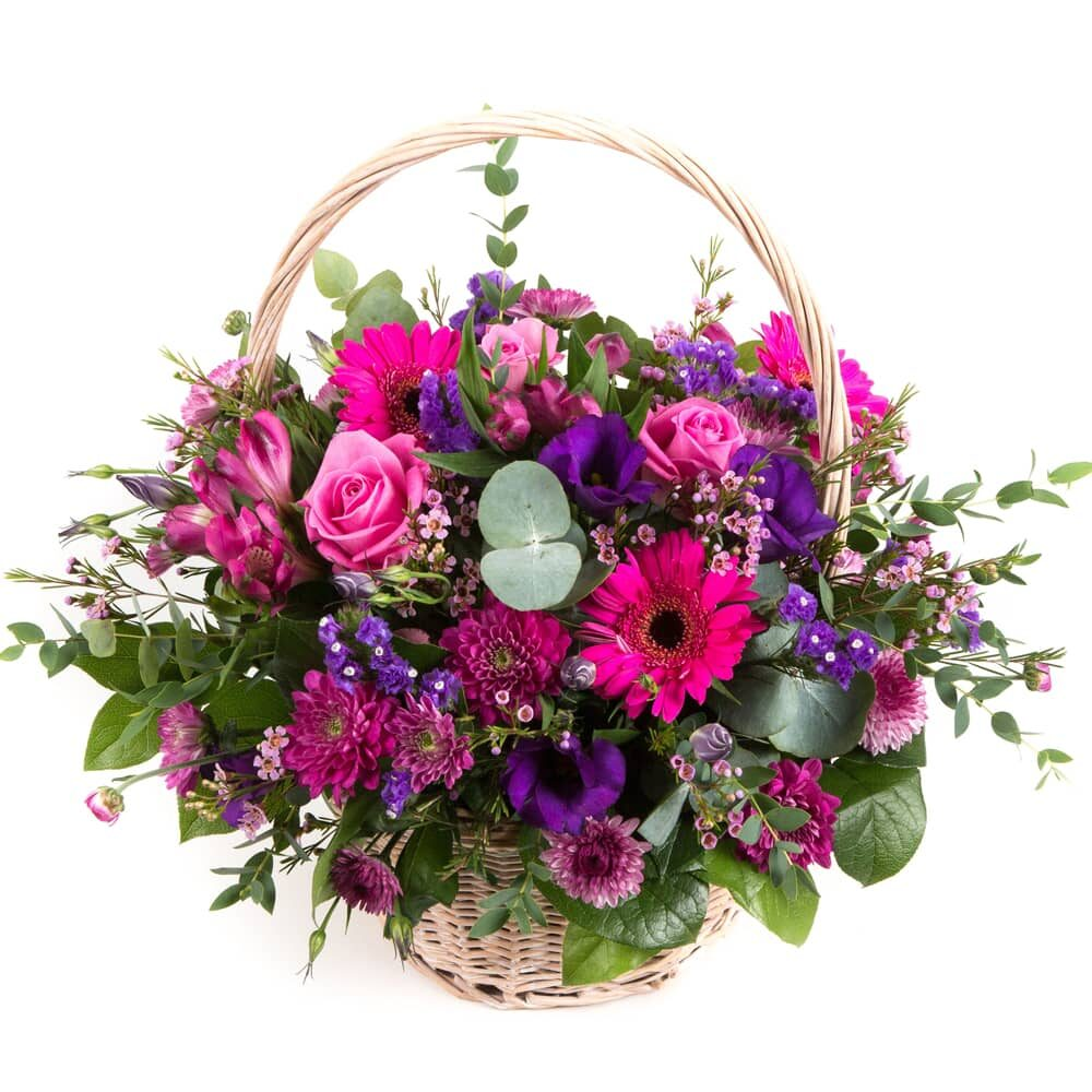 Purple & Pink Basket of flowers