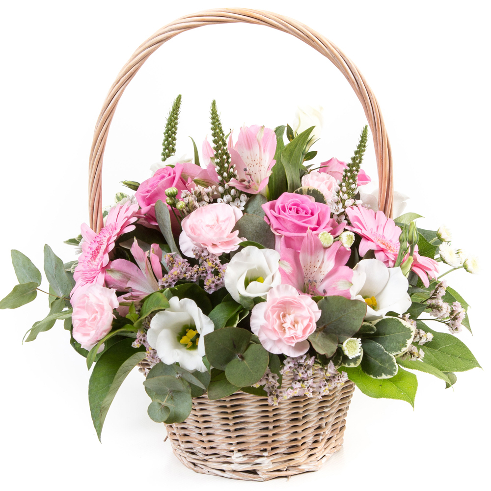Pink & White Basket Arrangement